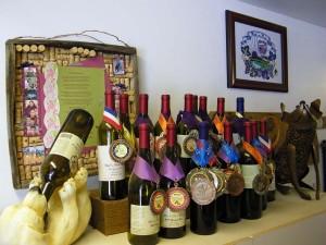Display of award winning Woof'n Rose wines.