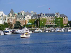 Viewed from the ferry boat, the Empress Hotel in Victoria British Columbia, home of High Tea.