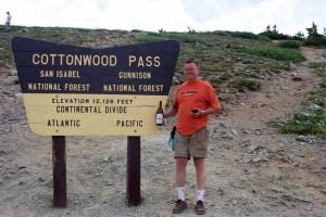 Steve at the Cottonwood Pass marker near Buena Vista Colorado.